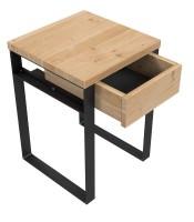 Nachttisch / H50 / Rohstahl & Wildeiche