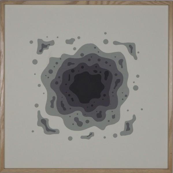 """Papierkunst """"Schwarzes Loch"""" im 50x50cm Eichenholzrahmen"""