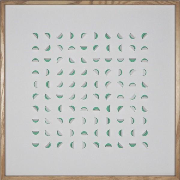 "3D-Papierkunst ""Twisted"" im 50x50cm Eichenholzrahmen"