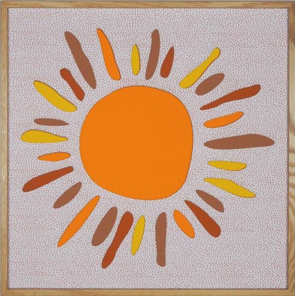 """Papierkunst """"Kids Edition – Sonne"""" im 50x50cm Eichenholzrahmen"""