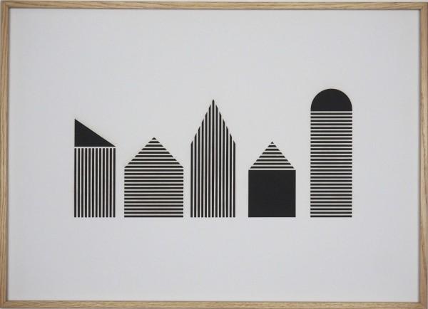 "Papierkunst ""Houses in black n white"" im 70x50cm Eichenholzrahmen"