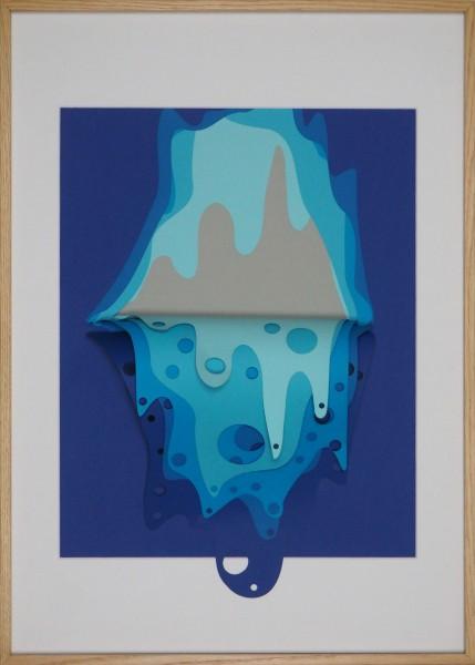 """3D-Papierkunst """"Wasserfall"""" im 50x70cm Eichenholzrahmen"""