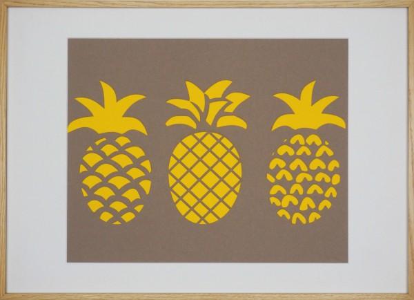 "Papierkunst ""Ananas"" im 70x50cm Eichenholzrahmen"