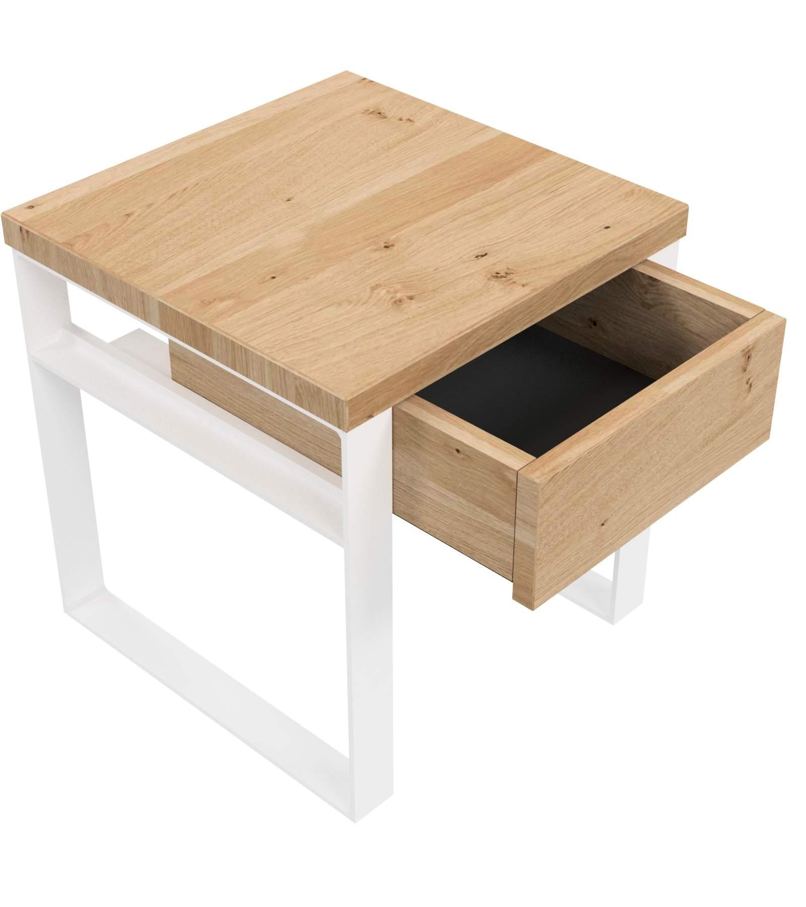 Nachttisch Aus Eiche U Stahl Weiss H 38cm