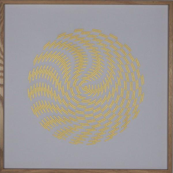 """Papierkunst """"Schneeball"""" im 50x50cm Eichenholzrahmen"""
