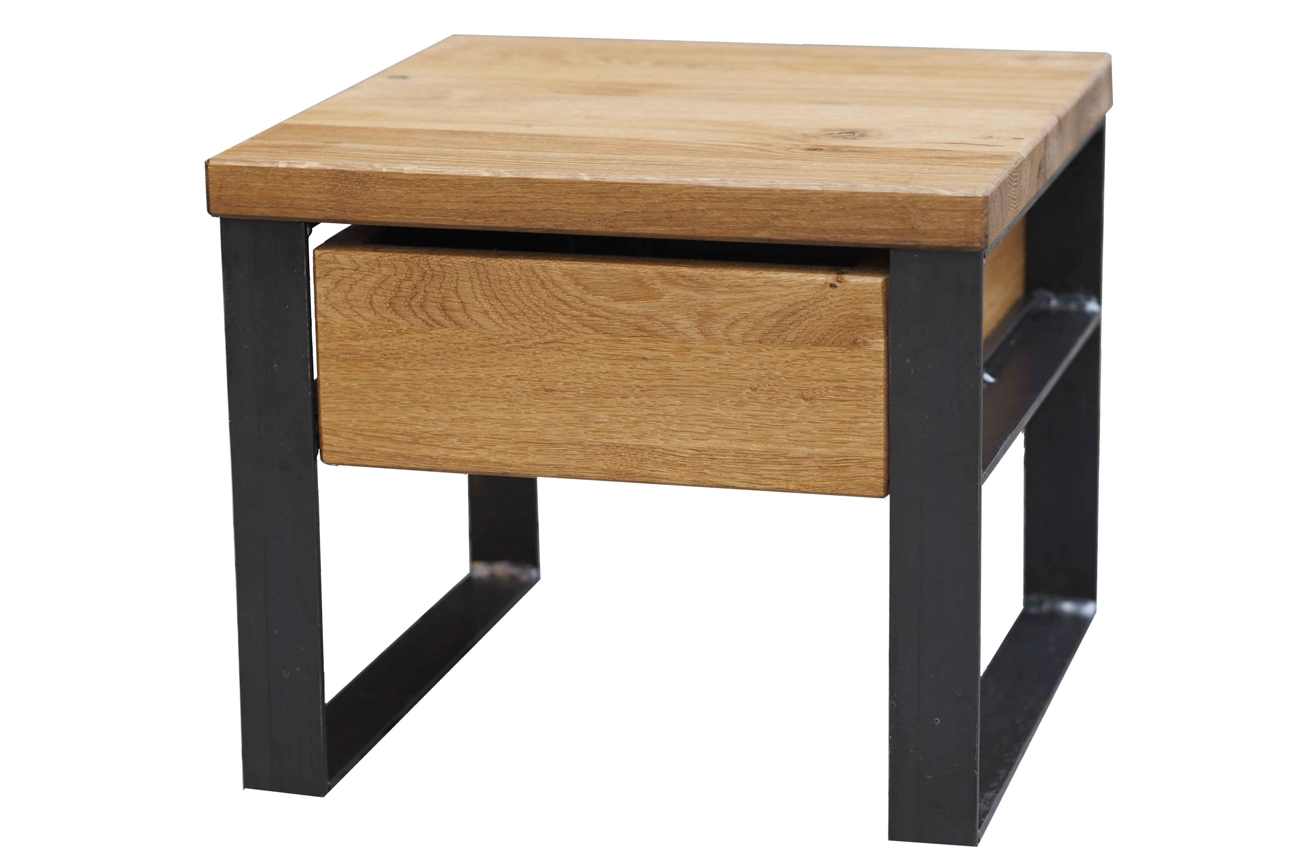 nachttisch aus eiche u stahl. Black Bedroom Furniture Sets. Home Design Ideas