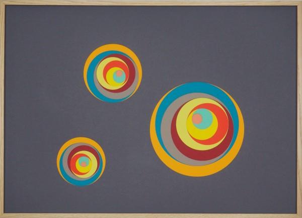 """Papierkunst """"Die Farben des Kreisels"""" im 70x50cm Eichenholzrahmen"""